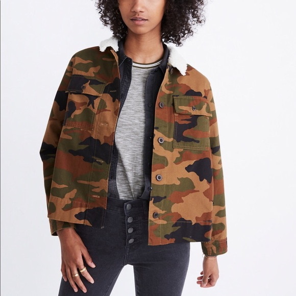 Madewell Jackets & Blazers - Madewell Cropped Army Jacket Camo : Sherpa Edition